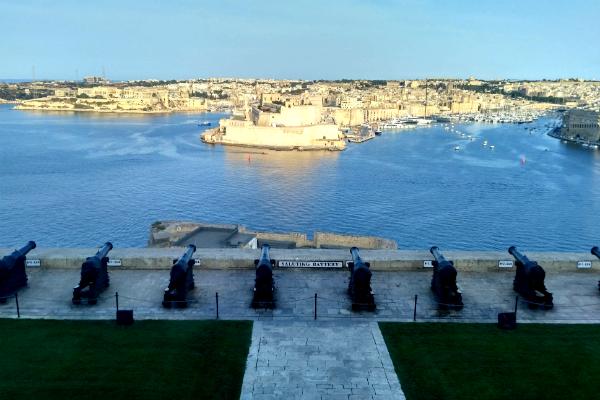 Canons at Upper Barrakka Gardens in Valletta, Malta