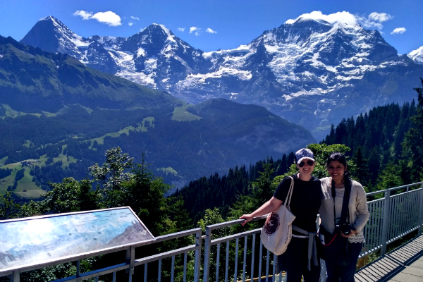 As we reached the first stop at Lauterbrunnen, Switzerland. Clearly we hadn't started walking yet!