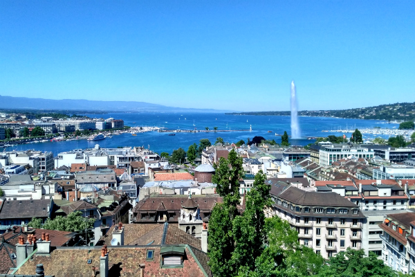 View from the top of the Saint Pierre Cathedral in Geneva, Switzerland.