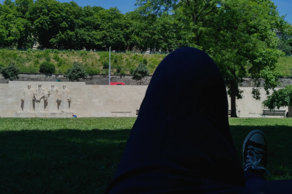 My view of the Reformation Wall from my resting place in Geneva, Switzerland.