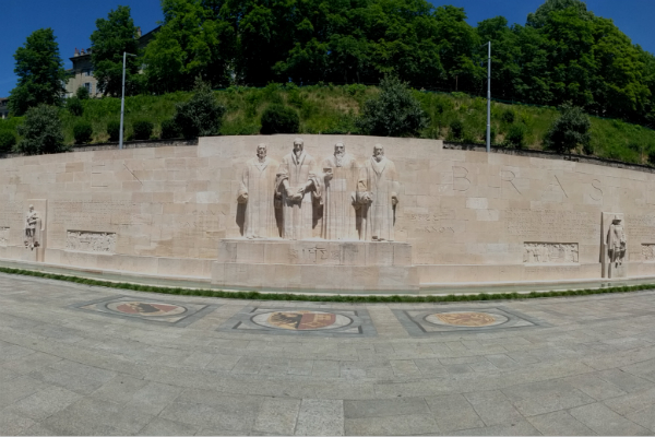 A panoramic view of the Reformation Wall in Geneva, Switzerland.