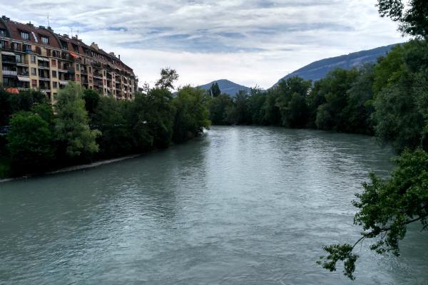 Arve River in the area of Carouge in Geneva, Switzerland.