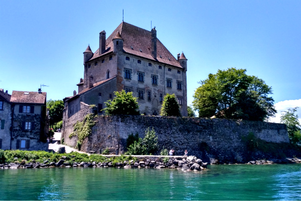 View of Yvoire, France from a jetty on the lakeside.