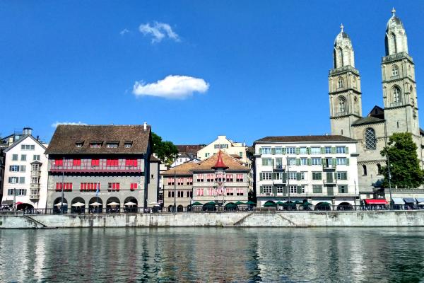 Grossmünster, an Evangelical Protestant church in the Old Town of Zurich, Switzerland.